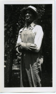 Former Roustabout Berry Hubbard in his Overalls and Hat