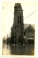 Broadway Methodist Church during '37 flood.