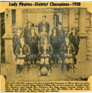 Newspaper photo of Lady Pirates, 1930 district basketball champions