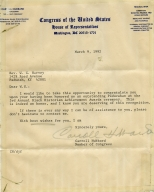 Congressman Carroll Hubbard Congratulatory Letter to W.G. Harvey