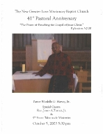 W. G. Harvey 41st Pastoral Anniversary Program