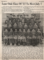 Newspaper article on 25th class reunion of Lone Oak High School class of 1937