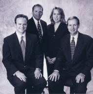 Meteorologist Court Strong, weatherman Lew Jetton, reporter/anchor Pam Spencer and meteorologist Cal Sisto