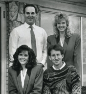 Anchor Johnette Worak, photographer Rob Hughes, Jim Thomas and reporter Susan Risdon at the Illinois Bureau