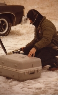 Photographer Kenny Jones at live shot in winter