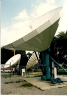Satellite dishes behind station