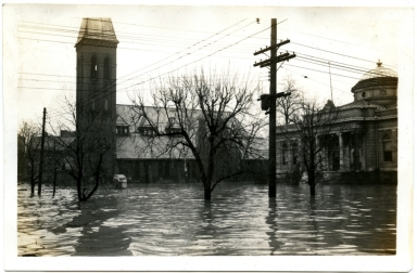 Episcopal Church and library during '37 flood.