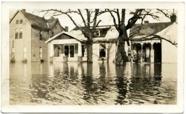 Scene of flooded street during '37 flood.