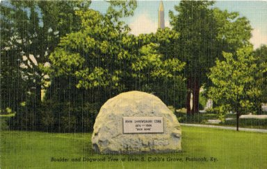Boulder and Dogwood Tree at Irvin s. Cobb's Grave, Paducah, Ky.