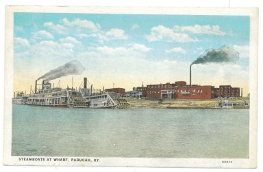 STEAMBOATS AT WHARF, PADUCAH, KY.