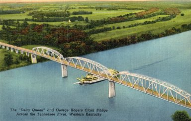 "The ""Delta Queen"" and George Rogers Clark Bridge Across the Tennessee River, Western Kentucky"