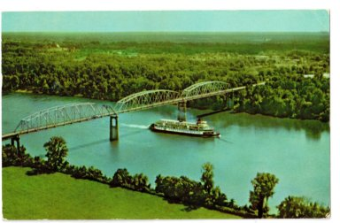 """The """"Delta Queen"""" passing under the George Rogers Clark Bridge over the Tennessee River on U. S. Highway 60, near Paducah, KY"""