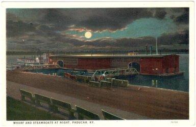 Wharf and Steamboats at Night, Paducah, KY