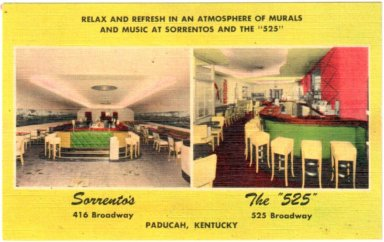 "Relax and Refresh in an Atmosphere of Murals and Music at Sorrentos and the ""525"", Paducah, Ky"