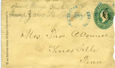 Envelope addressed and mailed in 1891