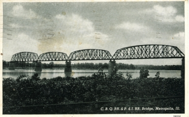 C.B.Q. RR. and P. & I. RR. Bridge over Ohio River at Metropolis (IL)