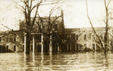 Illinois Central Hospital on Broadway in Paducah (KY) during 1937 flood