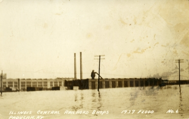 Illinois Central Railroad shops on Kentucky Avenue in Paducah (KY) during 1937 flood