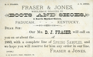Promotional post card for Fraser and Jones Boots and Shoes in Paducah (KY)