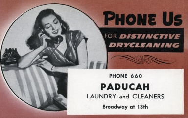 Promotional post card for Paducah Laundry and Cleaners in Paucah (KY)