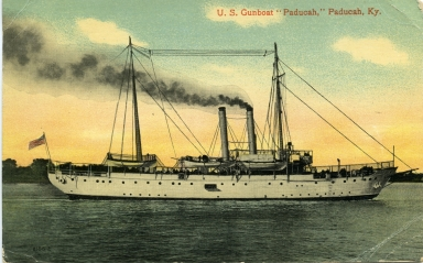 "U.S. Gunboat ""Paducah"" on Ohio River at Paducah (KY)"