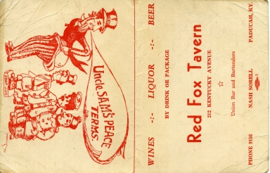 Promotional card for Red Fox Tavern  Paducah (KY)