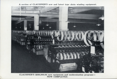 Claussner's skein winding equipment at plant in Paducah (KY)