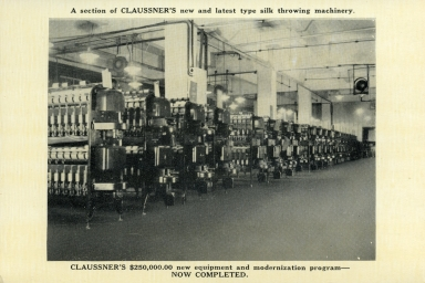 Claussner's silk throwing machinery at plant in Paducah (KY)