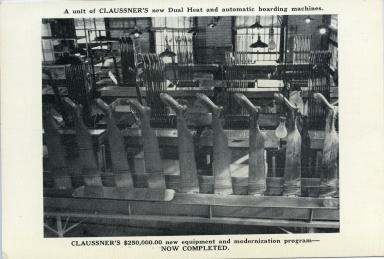 Claussner's dual heat and automatic boarding machine at plant in Paducah (KY)