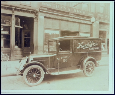 Hank Brothers Automobile in front of the Hardware Store