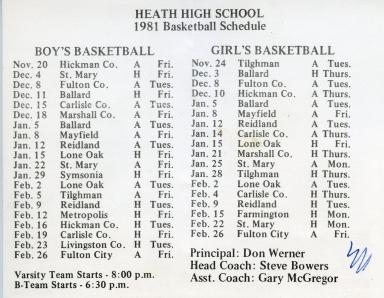1981 Heath High School basketball schedules