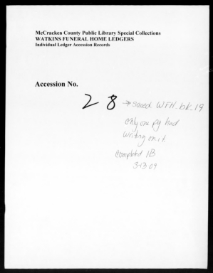 Watkins Funeral Home Records Book 19