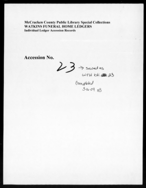 Watkins Funeral Home Records Book 23