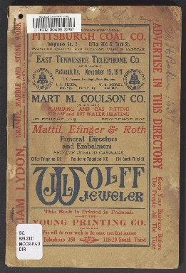 East Tennessee Telephone Company Paducah Directory for November 11th, 1911