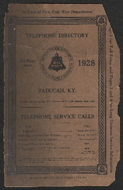Southern Bell Telephone and Telegraph Co. Telephone Directory of Paducah, KY, Fall-Winter Issue 1928