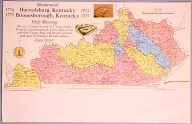 Bicentennial Harrodsburg-Boonesborough Kentucky Map