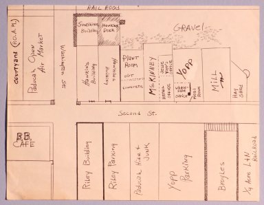 Hand-drawn map of 2nd and Washington Streets, Paducah, KY