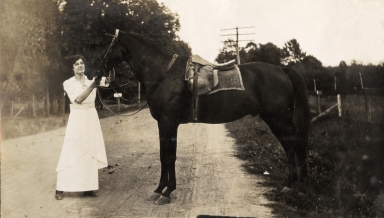 John E Griffith with horse and buggy
