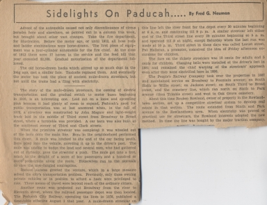 Newspaper article about Paducah streetcars