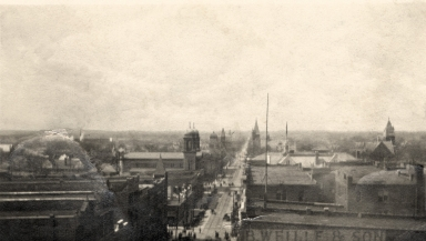 Aerial photograph of Broadway in Paducah, looking west from 4th Street
