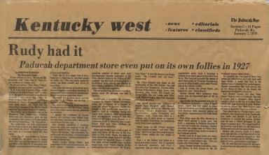 "Paducah Sun article on ""Rudy's Follies of 1927"""