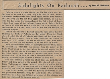 Newspaper article about burning of houses downtown before the Battle of Paducah