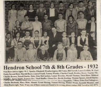 Hendron School students and teacher, grades 7 and 8