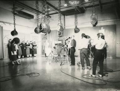 Choir singing in studio
