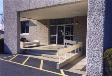Station entrance with wheelchair ramp