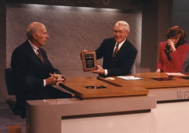 WPSD president Fred Paxton, news vice-president/anchor Tom Butler and news anchor Bonnie Schrock on news set in studio