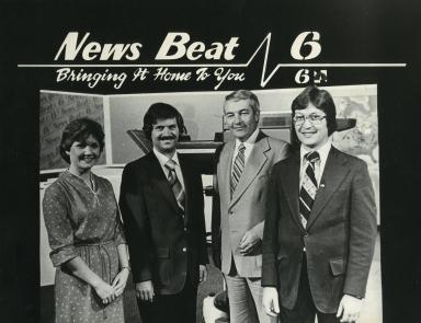 News anchor Jayne Jeffrey, sports director Frank Morock, news anchor Tom Butler and meteorologist Chris Gentry