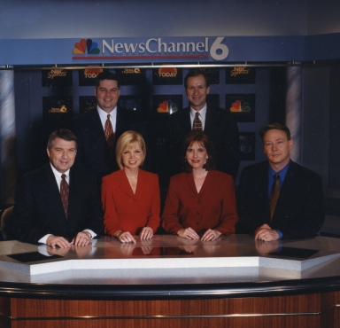 Reporter/anchor Ron Beaton, reporter/anchor Amy Watson, reporter/anchor Johnette Worak, anchor Mike Mallory, sports director/anchor Dave Winder and meteorologist Cal Sisto