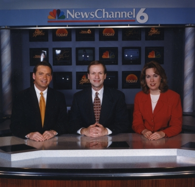 Weatherman Lew Jetton, meteorologist Cal Sisto and reporter/anchor Pam Spencer