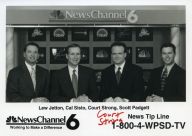 Weatherman Lew Jetton, meteorologist Cal Sisto, meteorologist Court Strong and Scott Padgett